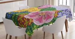 Çiçek ve Yaprak Desenli Masa Örtüsü Rengarenk Şık