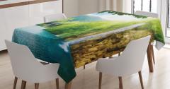 Şelale ve Orman Manzaralı Masa Örtüsü Yeşil Mavi