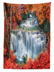 Sonbahar Şelalesi Temalı Masa Örtüsü Kırmızı Ağaç