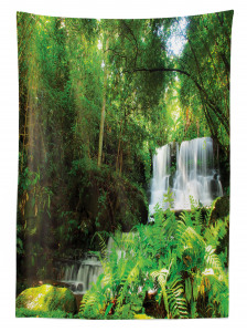 Ormandaki Şelale Manzaralı Masa Örtüsü Yeşil Ağaç