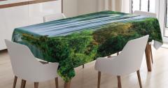 Şelale Manzaralı Masa Örtüsü Yeşil Ağaç Orman Doğa
