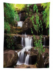 Ormandaki Şelale Temalı Masa Örtüsü Ağaç Doğa Huzur