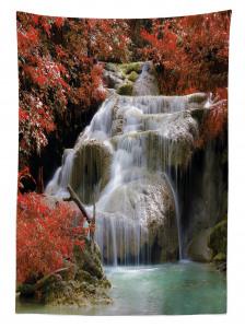Kırmızı Yapraklar ve Şelale Temalı Masa Örtüsü Ağaç