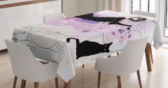 Güzel Kadın ve Kedi Desenli Masa Örtüsü Siyah Pembe