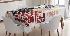 Güzel Kadın Temalı Masa Örtüsü Siyah Kırmızı Tuğla
