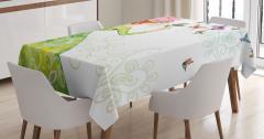 Kelebek ve Kız Desenli Masa Örtüsü Yeşil Şık Tasarım
