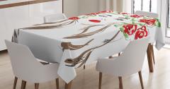 Çiçekli Kız Desenli Masa Örtüsü Kırmızı Siyah Şık