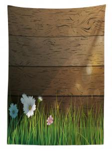 Bahar Temalı Masa Örtüsü Papatya Bahçesi Kahverengi