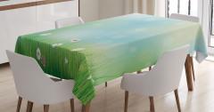 Bahar Temalı Masa Örtüsü Papatya Yeşil Şık Tasarım