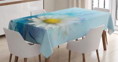 Papatya Desenli Masa Örtüsü Çiçekli Mavi Beyaz Sarı