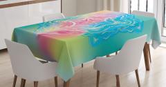 Mandala Desenli Masa Örtüsü Yeşil Şık Tasarım Çiçek