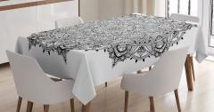 Mandala Desenli Masa Örtüsü Siyah Beyaz Çiçek Şık