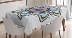 Çiçek Desenli Masa Örtüsü Mavi Şık Tasarım Trend