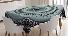 Çiçek Desenli Masa Örtüsü Mavi Mandala Şık Tasarım