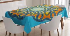 Sarı Mavi Şal Desenli Masa Örtüsü Dairesel Çiçekli