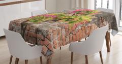 Tuğla Duvar ve Ağaç Desenli Masa Örtüsü Pembe Çiçek