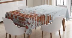 Kahverengi Tuğla ve Beyaz Desenli Masa Örtüsü Şık