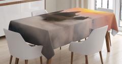 Zirve ve Sis Manzaralı Masa Örtüsü Şık Dekoratif