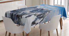 Gökyüzü ve Karlı Dağ Temalı Masa Örtüsü Beyaz Mavi