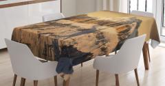 Karlı Kayalık Dağ Temalı Masa Örtüsü Şık Tasarım