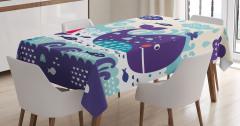 Çocuklar için Masa Örtüsü Balina Desenli Lacivert