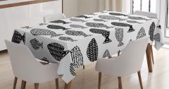 Siyah Beyaz Masa Örtüsü Balık Desenleri Modern Sanat
