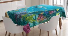 Çocuklar için Masa Örtüsü Okyanus Altı Yaşam Temalı