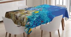 Okyanus Altı Yaşam Temalı Masa Örtüsü Balıklar Mavi