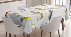 Olta ve Balık Temalı Masa Örtüsü Beyaz Şık Tasarım