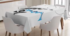 Balık ve Olta Temalı Masa Örtüsü Siyah Beyaz Mavi