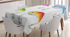 Rengarenk Balık Desenli Masa Örtüsü Olta Beyaz Fon