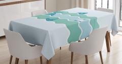 Balık ve Şamandıra Desenli Masa Örtüsü Mavi Deniz