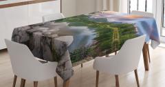 Romantik Göl Manzaralı Masa Örtüsü Doğa Yeşil Bahar