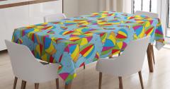 Rengarenk Şemsiye Desenli Masa Örtüsü Mavi Trend