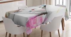 Geyşa Temalı Masa Örtüsü Beyaz Sulu Boya Şık Tasarım