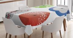 Japon Şemsiyesi Desenli Masa Örtüsü Rengarenk Şık