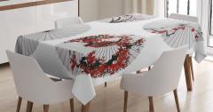 Çiçekli Şemsiye Desenli Masa Örtüsü Şık Tasarım