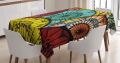 Rengarenk Şemsiye Desenli Masa Örtüsü Şık Tasarım
