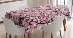 Kiraz Çiçekleri Desenli Masa Örtüsü Pembe Beyaz Şık