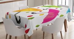Rengarenk Şemsiye Desenli Masa Örtüsü Yaprak Beyaz