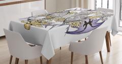 Balık İskeleti Desenli Masa Örtüsü Mor Sarı Çiçek