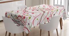 Yaprak Desenli Masa Örtüsü Çeyizlik Şık Kırmızı