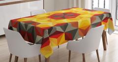 Geometrik Desenli Masa Örtüsü Sarı Kırmızı Altıgen