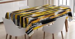 Fırça Darbesi Desenli Masa Örtüsü Altın Siyah Şık