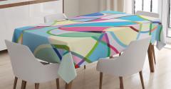 Rengarenk Desenli Masa Örtüsü Geometrik Şık Tasarım