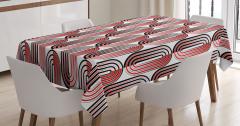 Elips Desenli Masa Örtüsü Geometrik Kırmızı Siyah