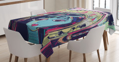 Mavi Yüzlü Kız Desenli Masa Örtüsü Kedi Kuş Trend