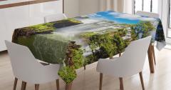 Şelale Manzaralı Masa Örtüsü Yeşil Mavi Ağaç Bulut