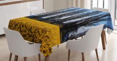 Ağaç ve Çiçek Temalı Masa Örtüsü Sarı Mavi Gökyüzü