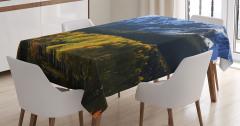 Karlı Dağ ve Orman Manzaralı Masa Örtüsü Yeşil Mavi